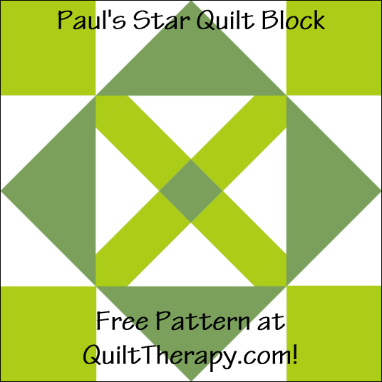 "Paul's Star Quilt Block Free Pattern for a 12"" quilt block at QuiltTherapy.com!"