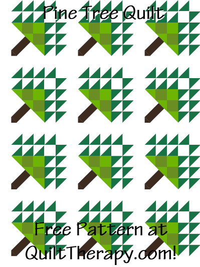 "Pine Tree Quilt Block Free Pattern for a 12"" quilt block at QuiltTherapy.com!"