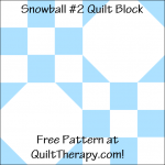 "Snowball #2 Quilt Block Free Pattern for a 12"" quilt block at QuiltTherapy.com!"