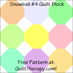 "Snowball #4 Quilt Block Free Pattern for a 12"" quilt block at QuiltTherapy.com!"