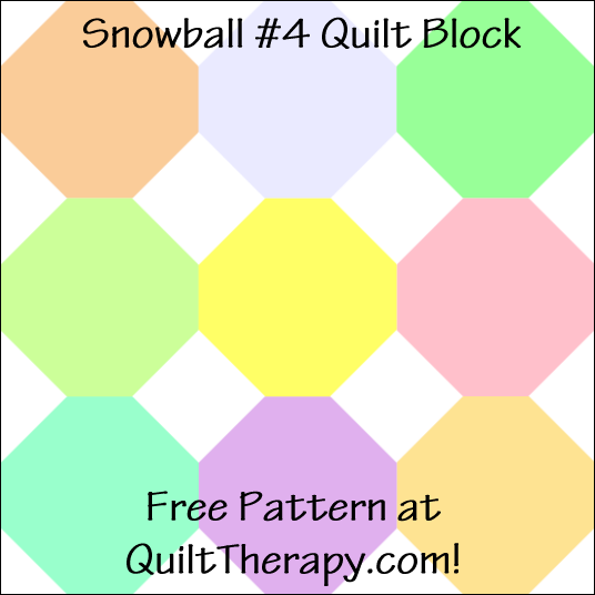 """Snowball #4 Quilt Block Free Pattern for a 12"""" quilt block at QuiltTherapy.com!"""