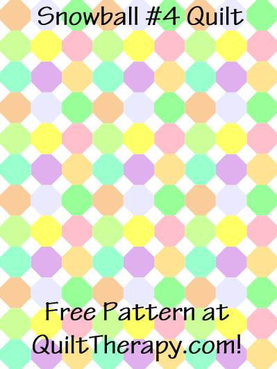 """Snowball #4 Quilt Free Pattern for a 36"""" x 48"""" quilt at QuiltTherapy.com!"""