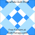 "Snowflake Quilt Block Free Pattern for a 12"" quilt block at QuiltTherapy.com!"