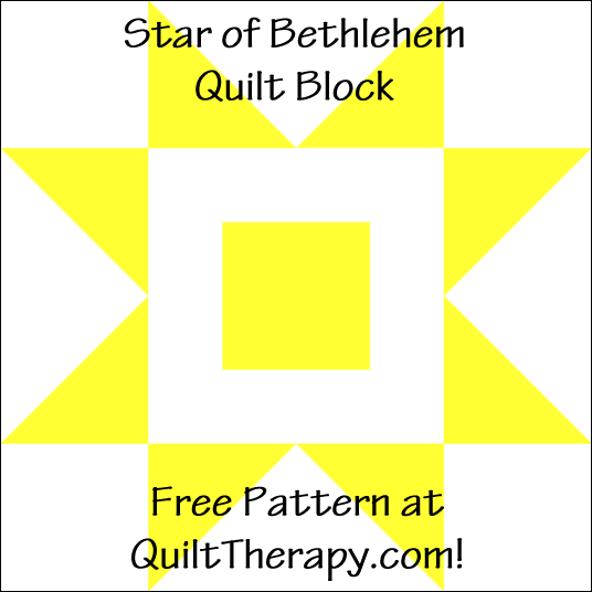 "Star of Bethlehem Quilt Block Free Pattern for a 12"" quilt block at QuiltTherapy.com!"