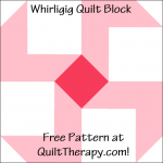 """Whirligig Quilt Block Free Pattern for a 12"""" quilt block at QuiltTherapy.com!"""