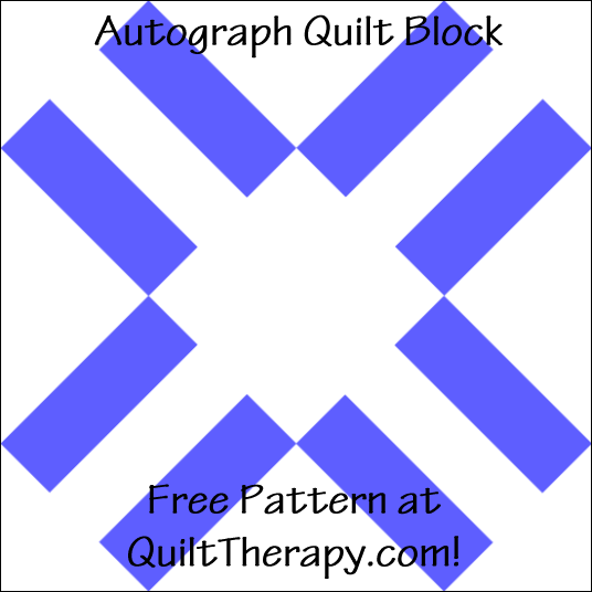 "Autograph Quilt Block Free Pattern for a 12"" quilt block at QuiltTherapy.com!"