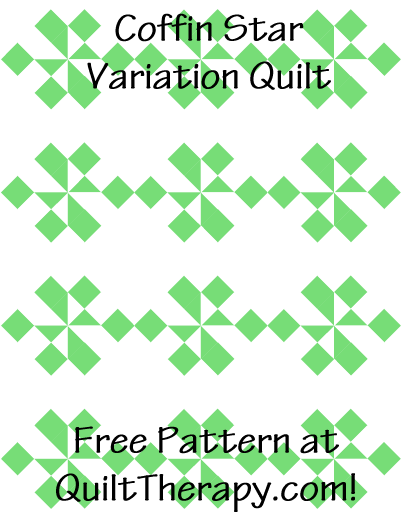 """Coffin Star Variation Quilt Free Pattern for a 36"""" x 48"""" quilt at QuiltTherapy.com!"""