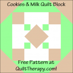 "Cookies & Milk Quilt Block Free Pattern for a 12"" quilt block at QuiltTherapy.com!"