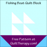 "Fishing Boat Quilt Block Free Pattern for a 12"" quilt block at QuiltTherapy.com!"
