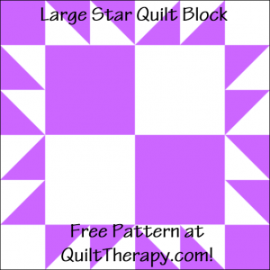 """Large Star Quilt Block Free Pattern for a 12"""" quilt block at QuiltTherapy.com!"""