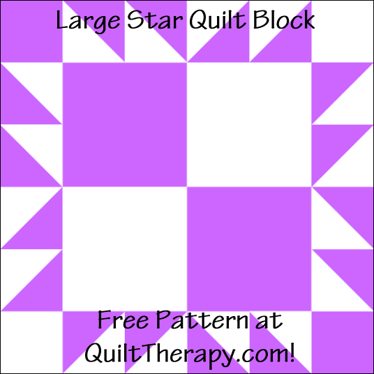 "Large Star Quilt Block Free Pattern for a 12"" quilt block at QuiltTherapy.com!"