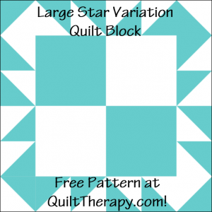 """Large Star Variation Quilt Block Free Pattern for a 12"""" quilt block at QuiltTherapy.com!"""