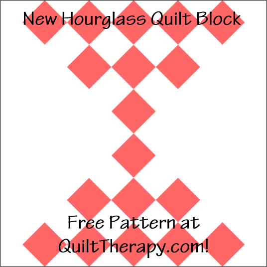 """New Hourglass Quilt Block Free Pattern for a 12"""" quilt block at QuiltTherapy.com!"""