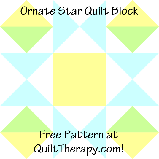 "Ornate Star Quilt Block Free Pattern for a 12"" quilt block at QuiltTherapy.com!"