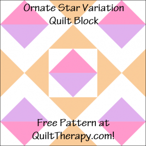 """Ornate Star Variation Quilt Block Free Pattern for a 12"""" quilt block at QuiltTherapy.com!"""