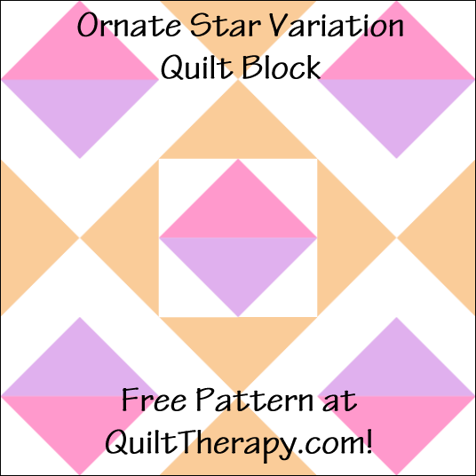 "Ornate Star Variation Quilt Block Free Pattern for a 12"" quilt block at QuiltTherapy.com!"