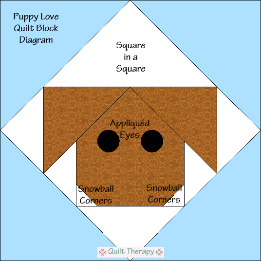 "Puppy Love Block Diagram Free Pattern for 12"" finished quilt block at QuiltTherapy.com!"