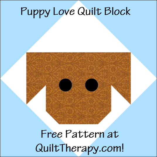 "Puppy Love Quilt Block Free Pattern for a 12"" quilt block at QuiltTherapy.com!"