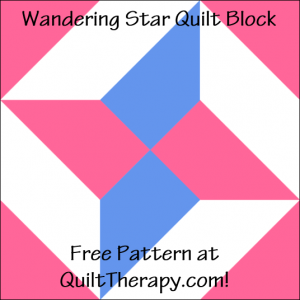 """Wandering Star Quilt Block Free Pattern for a 12"""" quilt block at QuiltTherapy.com!"""