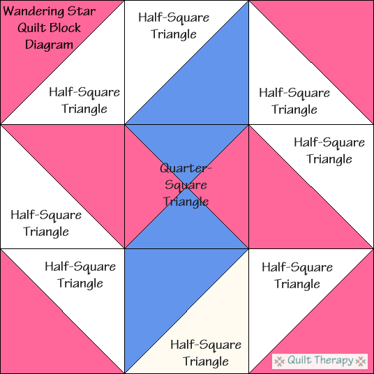"""Wandering Star Block Diagram Free Pattern for 12"""" finished quilt block at QuiltTherapy.com!"""