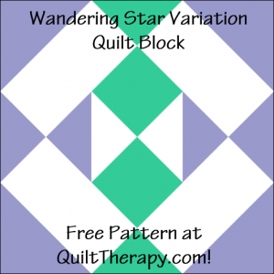 """Wandering Star Variation Quilt Block Free Pattern for a 12"""" quilt block at QuiltTherapy.com!"""