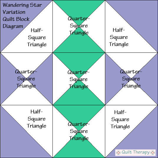 """Wandering Star Variation Block Diagram Free Pattern for 12"""" finished quilt block at QuiltTherapy.com!"""