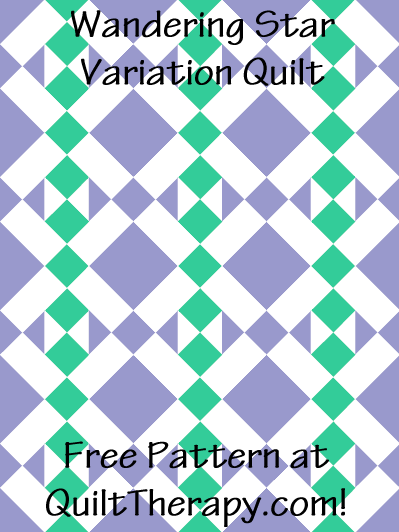 """Wandering Star Variation Quilt Free Pattern for a 36"""" x 48"""" quilt at QuiltTherapy.com!"""