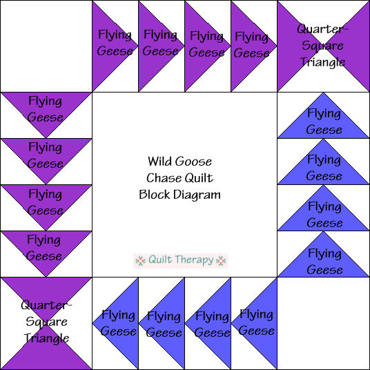 "Wild Goose Chase Block Diagram Free Pattern for 12"" finished quilt block at QuiltTherapy.com!"