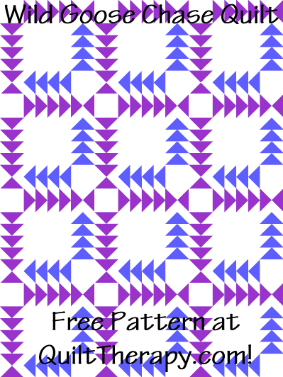 """Wild Goose Chase Quilt Free Pattern for a 36"""" x 48"""" quilt at QuiltTherapy.com!"""