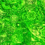 """Midnight Stargazer"" 2020 Block of the Month designed by TK Harrison for BOMquilts.com - Fabric #14 in this BOM Quilt - Green Eyed Lady"