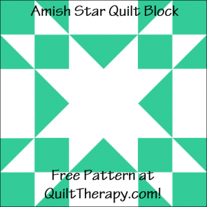 """Amish Star Quilt Block Free Pattern for a 12"""" quilt block at QuiltTherapy.com!"""