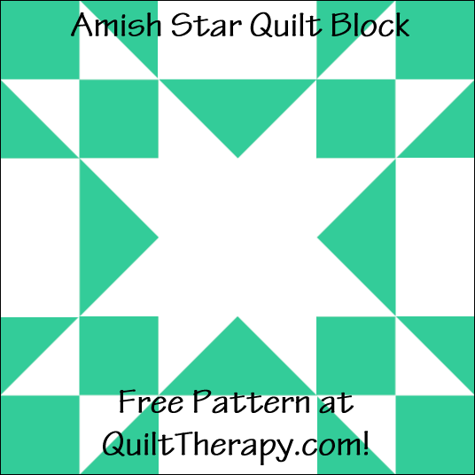 "Amish Star Quilt Block Free Pattern for a 12"" quilt block at QuiltTherapy.com!"