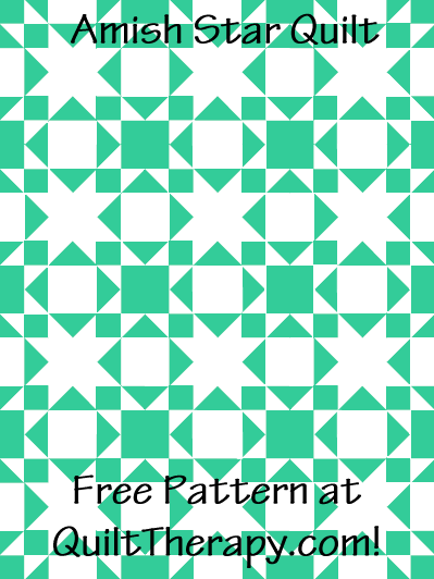 """Amish Star Quilt Free Pattern for a 36"""" x 48"""" quilt at QuiltTherapy.com!"""