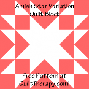 """Amish Star Variation Quilt Block Free Pattern for a 12"""" quilt block at QuiltTherapy.com!"""