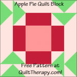 "Apple Pie Quilt Block Free Pattern for a 12"" quilt block at QuiltTherapy.com!"