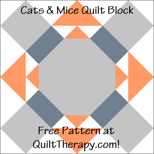 "Cats & Mice Quilt Block Free Pattern for a 12"" quilt block at QuiltTherapy.com!"