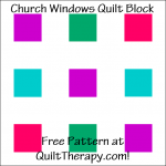 """Church Windows Quilt Block Free Pattern for a 12"""" quilt block at QuiltTherapy.com!"""