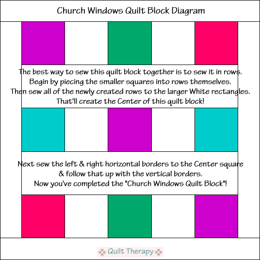 "Church Windows Block Diagram Free Pattern for 12"" finished quilt block at QuiltTherapy.com!"