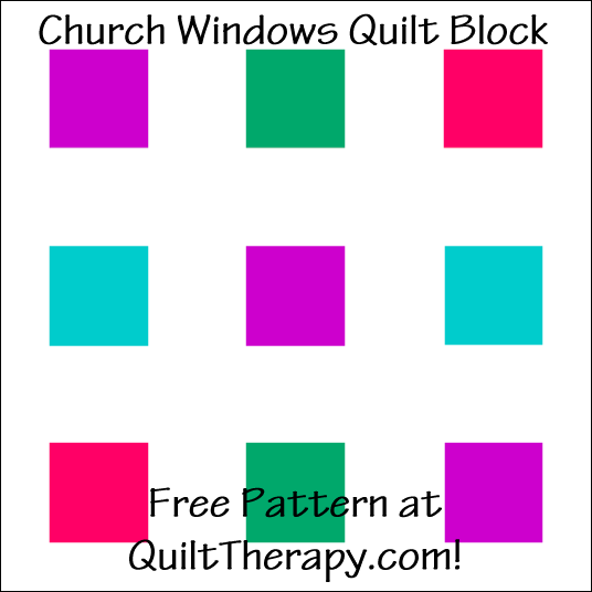 "Church Windows Quilt Block Free Pattern for a 12"" quilt block at QuiltTherapy.com!"
