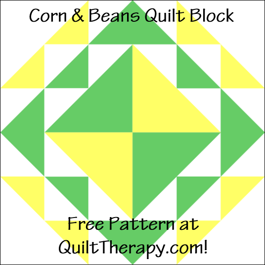 "Corn & Beans Quilt Block Free Pattern for a 12"" quilt block at QuiltTherapy.com!"