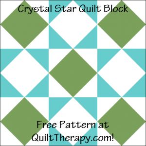 """Crystal Star Quilt Block Free Pattern for a 12"""" quilt block at QuiltTherapy.com!"""