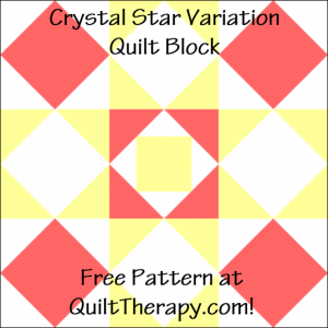 """Crystal Star Variation Quilt Block Free Pattern for a 12"""" quilt block at QuiltTherapy.com!"""