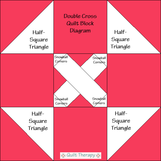 """Double Cross Block Diagram Free Pattern for 12"""" finished quilt block at QuiltTherapy.com!"""