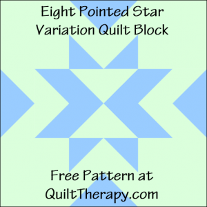 """Eight Pointed Star Variation Quilt Block Free Pattern for a 12"""" quilt block at QuiltTherapy.com!"""