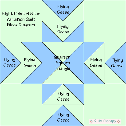 "Eight Pointed Star Variation Block Diagram Free Pattern for 12"" finished quilt block at QuiltTherapy.com!"