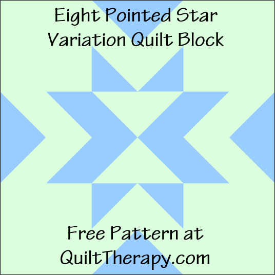 "Eight Pointed Star Variation Quilt Block Free Pattern for a 12"" quilt block at QuiltTherapy.com!"