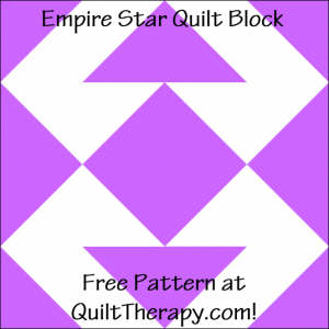 """Empire Star Quilt Block Free Pattern for a 12"""" quilt block at QuiltTherapy.com!"""