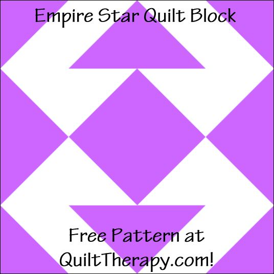 "Empire Star Quilt Block Free Pattern for a 12"" quilt block at QuiltTherapy.com!"