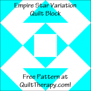 """Empire Star Variation Quilt Block Free Pattern for a 12"""" quilt block at QuiltTherapy.com!"""