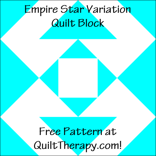 "Empire Star Variation Quilt Block Free Pattern for a 12"" quilt block at QuiltTherapy.com!"